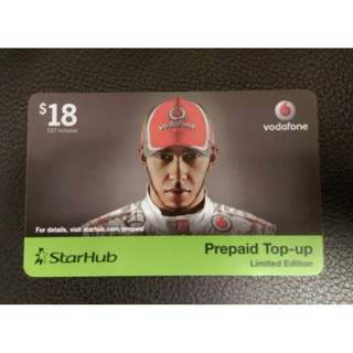 Limited Edition Starhub Top Up card featuring Lewis Hamilton