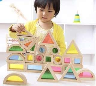 SENSORY BLOCKS BUILDING COLOUR BLOCKS MONTESSORI REGGIO WALDORF INSPIRED GREAT GIFT LEARNING AID EDUCATIONAL