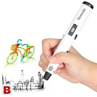 3D Printing Pen, Homecube 3D Stereo Drawing Pen with 3 FREE 1.75mm Pla Filament 3D Drawing pen, Intelligent 3D Doodler Pen Promote Children's Brain Development with Safety Holder(White)