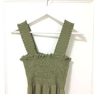 青草綠 超級美 寬帶平口連身褲 寬褲洋裝