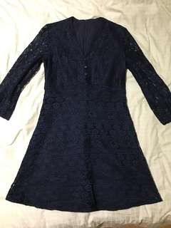 Saturday Club Navy Blue Lace Dress