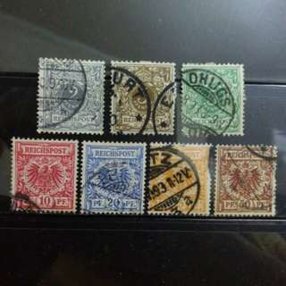 [lapyip1230] 德意志帝國 1890年 帝國國徽 舊票全套 Set VFU
