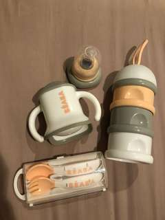 Beaba Feeding / Weaning Set (Formula Snack Container, Evolution Cup, Spoon Fork) Preloved