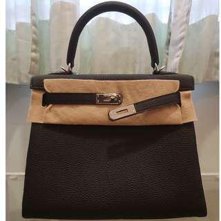 HERMES Kelly 25 Black Togo Leather with PHW