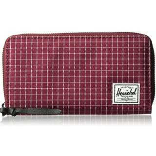 AUTHENTIC Herschel Supply Co. women thomas wallet RFID blocking long zipper phone coin pouch red wine grid