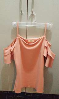 Peach cold shoulder top