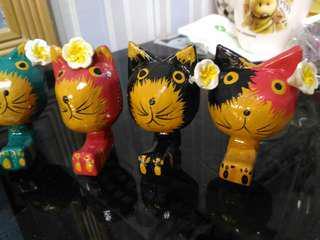 峇厘木雕貓狗公仔擺設 Bali wooden cat dog craft