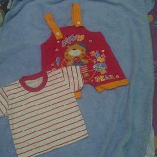 Kaos set merah beruang