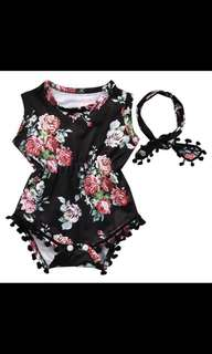 Summer Lovely Baby Girl Romper Clothes Floral Tassel Bodysuit Jumpsuit Headband 2PCS Outfit Sunsuit Tracksuit Clothing Set