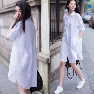2018 Korean cotton casual white shirt female short-sleeved BF loose shirt skirt