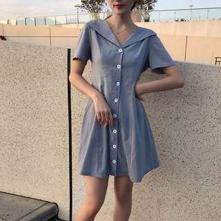 Retro Blue Buttoned Down Sailor Dress
