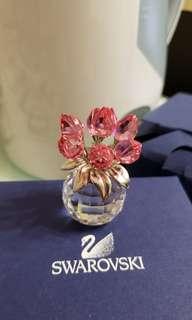 Swarovski 粉紅色鬰金香花水晶花一盤