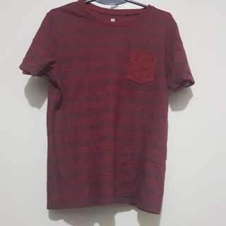 Uniqlo Maroon Striped Tee Size 150