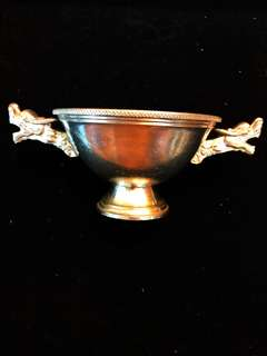Old Vintage (ca. 1950-1960's) Solid Pure Silver Ornate Dragon Goblet Cup, Extremely Captivating & Beautiful, of 65 mm Height & > 370 Grs (Very Large & Heavy).
