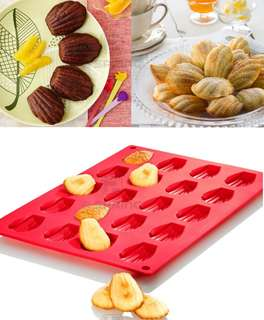 20 Pc Madeleine Cake Pan Tray Chiffon Muffin Silicone Oven-Safe Madeline Shell Mould
