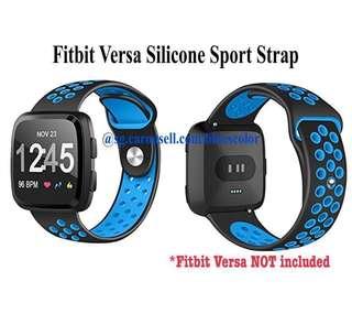 Fitbit Versa Silicone Sport Strap, Black/Blue