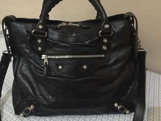 Balenciaga Velo G12 Silver HW Lamskin Leather Black Bag