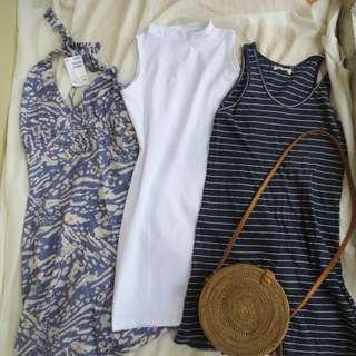 Brand new H&M Venice Beach Open back Dress + WhiteTurtle Neck Dress + Navy blue stripes dress