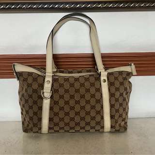 Authentic Gucci Abbey Tote Beige Ybony Gesso Bag
