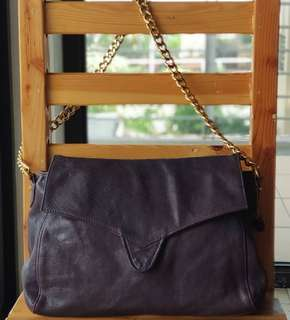 Authentic Chat Chat by Rabeanco Dark Purple Flap Chain Hobo
