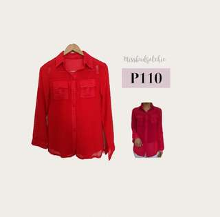Chiffon Red Button Down Longsleeves
