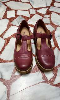 🚚 Teenmix紫紅色油蠟真牛皮厚底皮鞋 38碼