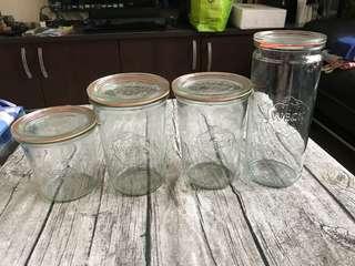 🚚 德國製Weck玻璃收納罐醃漬罐908玻璃瓶附玻璃蓋與密封配件1040ml