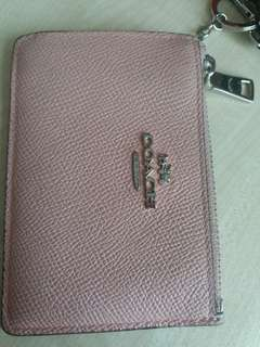 Coach light pink id card with coin slot