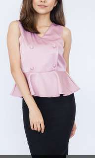 Double Breasted Peplum Top