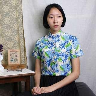 古著 古典中式盤釦花繪襯衫