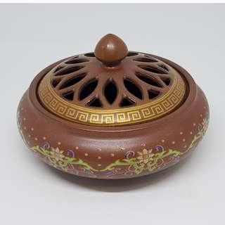 Ceramic Incense Burner w/Flower Motif 景泰蓝盤香爐