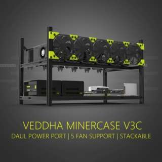(K33)Veddha V3C6 GPU Mining Rig Aluminum Alloy Stackable Case Open Air Frame Rack