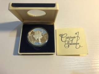 Singapore 1986 tiger 1oz silver proof coin with original cert and box