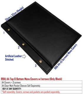R9-A4-Screws Covers with Pockets-Waterproof - Durable - Replaceable/Cover + 3 screws + 5 A4 pockets (for up to 10 pages of A4 contents)