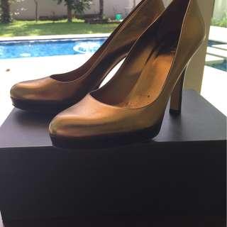 Authentic Gucci Shoe Pump 36 Leather Metallic Gold Bronze 6