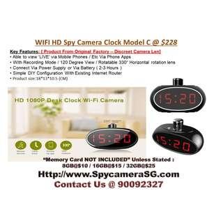 Spy clock Wifi IP Rotating Lens