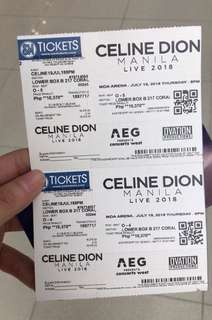 CELINE DION LIVE LOWER BOX TICKET @Philippines MOA Arena