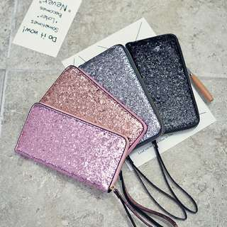 Ready stock+🎁 Glitter zip long purse