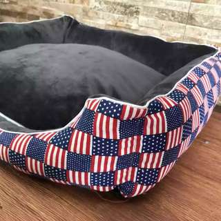 America Flag Pet Bed with Removable Cushion