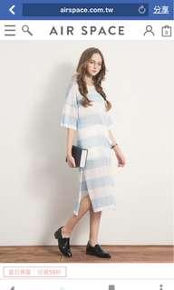 🚚 全新-Air Space水藍色白色條紋針織長版毛衣洋裝連身裙