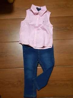 RL pink & H&M pants OOTD 1-2 yrs old