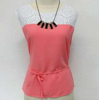 Brukat putih combinasi Pink