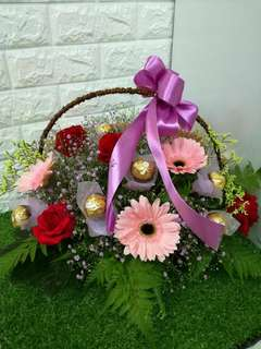 Flowers and chocolates basket