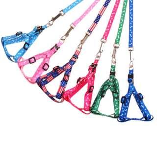 小型狗外出遛狗牽繩可調節項圈胸背袋