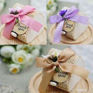 Ribbon Decorated Bamboo Heart Shaped Favor Box