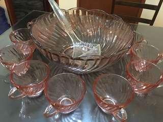 Vintage Design Fruit Punch Bowl Set