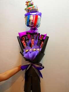 Chocolates Bouquet & birthday balloon
