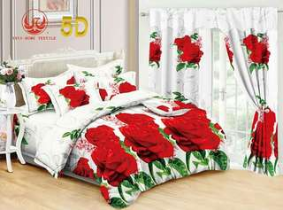 5D 5in1 bedsheet w/ curtain