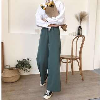 藍綠色高腰挺版寬褲