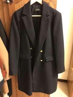 Zara 雙排扣 深藍色西裝外套 大衣外套